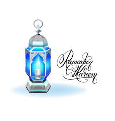 ramadan kareem greeting card with silver blue vector image vector image