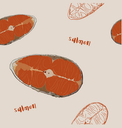 raw salmon sliced hand draw seamless pattern vector image vector image