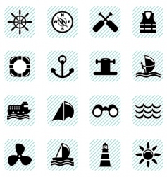 Sailing icons set vector