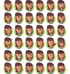 Set of brown young girl emojis vector