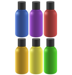 Six colourful bottles vector