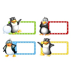 Square labels with cute penguins vector image vector image