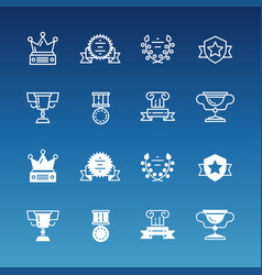Trophy prizes awards line and outline icons vector