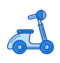 vintage scooter line icon vector image vector image