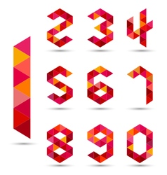 Numbers set in modern polygonal style vector