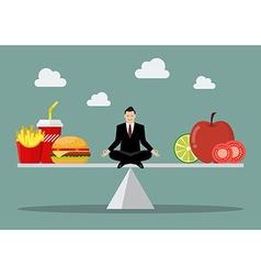 Man balancing between junk food and healthy food vector image