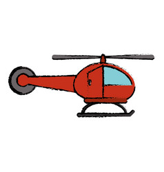 red helicopter transport flight icon vector image