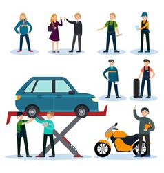 people in car repair service set vector image