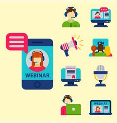 Flat design icons online education staff training vector