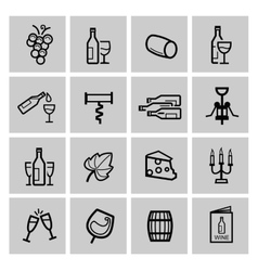 Black wine icon set vector