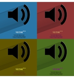 Color set Speaker Flat modern web button with long vector image