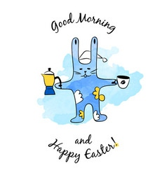 Cartoon easter bunny with coffee vector