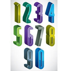 3d extra tall numbers set in blue and green colors vector
