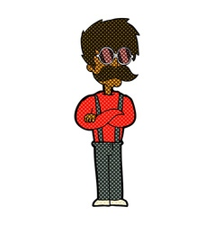 Comic cartoon hipster man with mustache and vector
