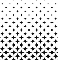 Seamless monochrome curved star pattern vector