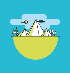 Line mountains in color linear vector