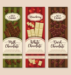 banners or chocolate dessert package design vector image
