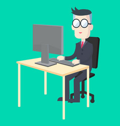 Business man working at desk with computer vector