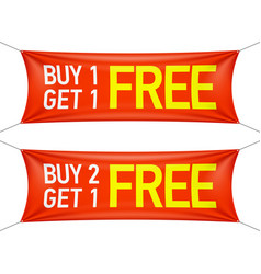 Buy one or two and get one for free banners vector