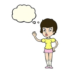 Cartoon pretty girl waving with thought bubble vector