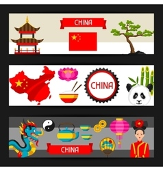 China banners design Chinese symbols and objects vector image