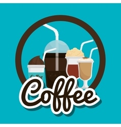cup glass coffee straw graphic vector image