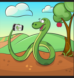 Cute green snake makes selfie vector