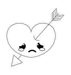 Dotted shape crying heart with arrow kawaii vector