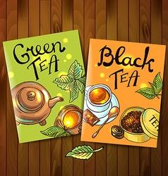 green and black tea vector image