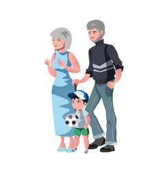 happy grandparents with grandson vector image vector image