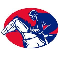 horse and jockey racing side view vector image