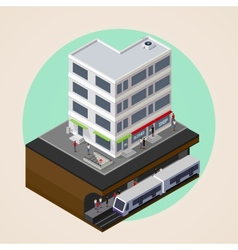 Isometric 3d of city street building and metro vector