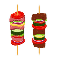 Kebabs on skewers roasted meat - lamb pork vector