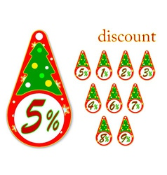 labels with Christmas tree discount vector image