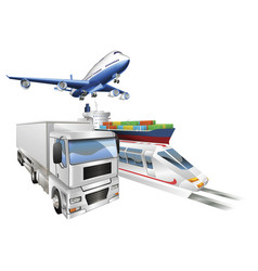 logistics concept airplane truck train cargo ship vector image
