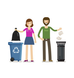 man woman throws garbage in trash can ecology vector image