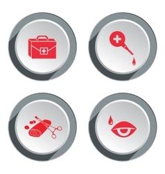 Medical tool icon set tweezers tampons bandage vector