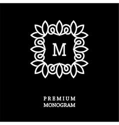 Monogram made of wide white stripes emblem vector