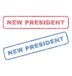 New president textile stamps vector
