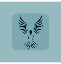 Pale blue flying bird icon vector