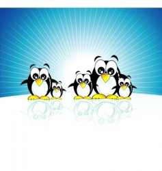 penguins family vector image
