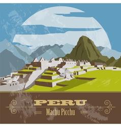 Peru landmarks retro styled image vector