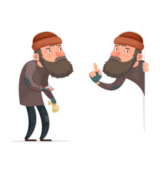 poor male homeless bum character isolated icon vector image vector image