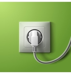 Realistic electric white socket and plug on green vector