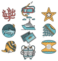 Sea leisure flat design icons vector image