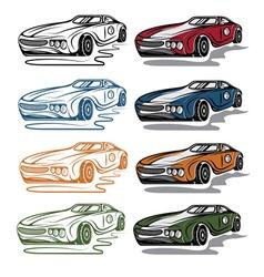 Set of vintage sport car vector