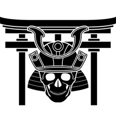 skull of samurai and torii gate vector image vector image