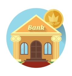 The bank and coin icon made in flat design vector