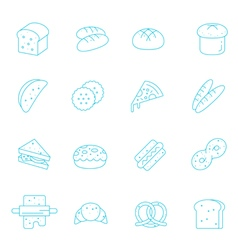 Thin lines icon set - bread and bakery vector image