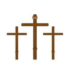 Three cross wooden vector